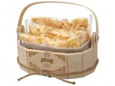 Sūris Džiugas skaptuotas mini medinėje dėž. 0,9 kg