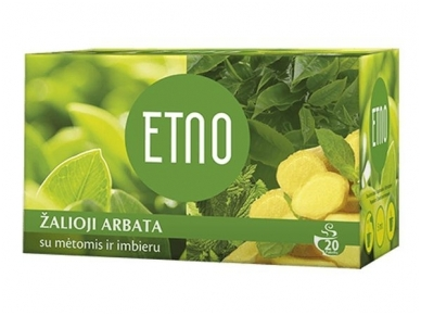 Arbata Etno žalioji arbata su mėtomis ir imbieru 20 pak.