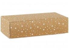 Dėžutė Rudo kartono su baltomis žvaigždutėmis 2 but.