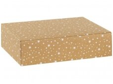 Dėžutė Rudo kartono su baltomis žvaigždutėmis 3 but.