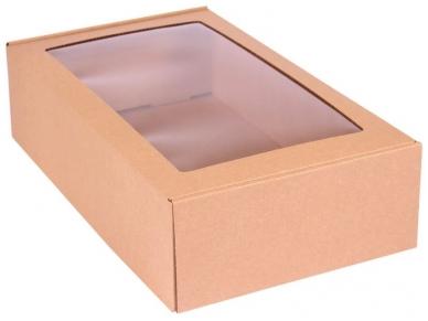 Dėžutė ruda su langu 2 But. 305x215x85