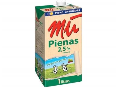 Pienas Mū pasterizuotas 2,5% 1 l
