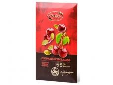 Šokoladas juodasis su moliūgų sėklomis ir vyšniomis 90 g