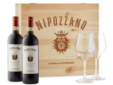 Vynas Frescobaldi Nipozzano Chianti Rufina Riserva D.O.C.G. (2 but. ir  2 taur.) su dėž. 0,75 l