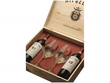 Vynas Frescobaldi Nipozzano Chianti Rufina Riserva D.O.C.G. (2 but. ir  2 taur.) su dėž. 0,75 l 2